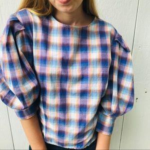 ZARA 80s Puff Sleeve Plaid Gingham Blouse Shirt M